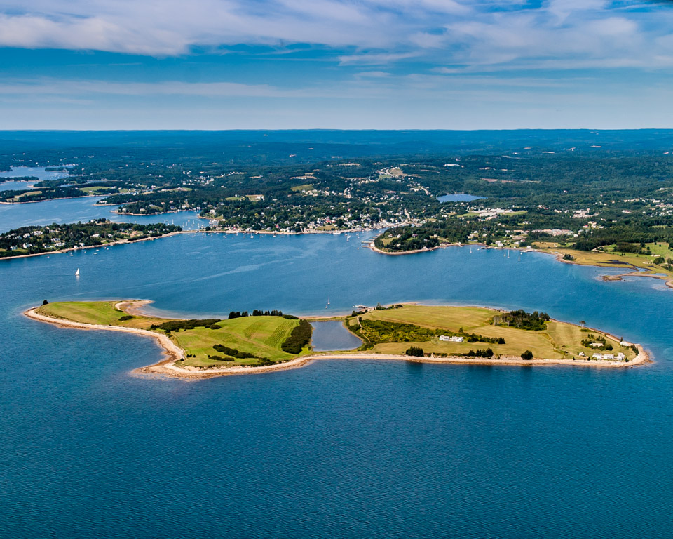 Aerial of Ondaatje Island, Chester, NS