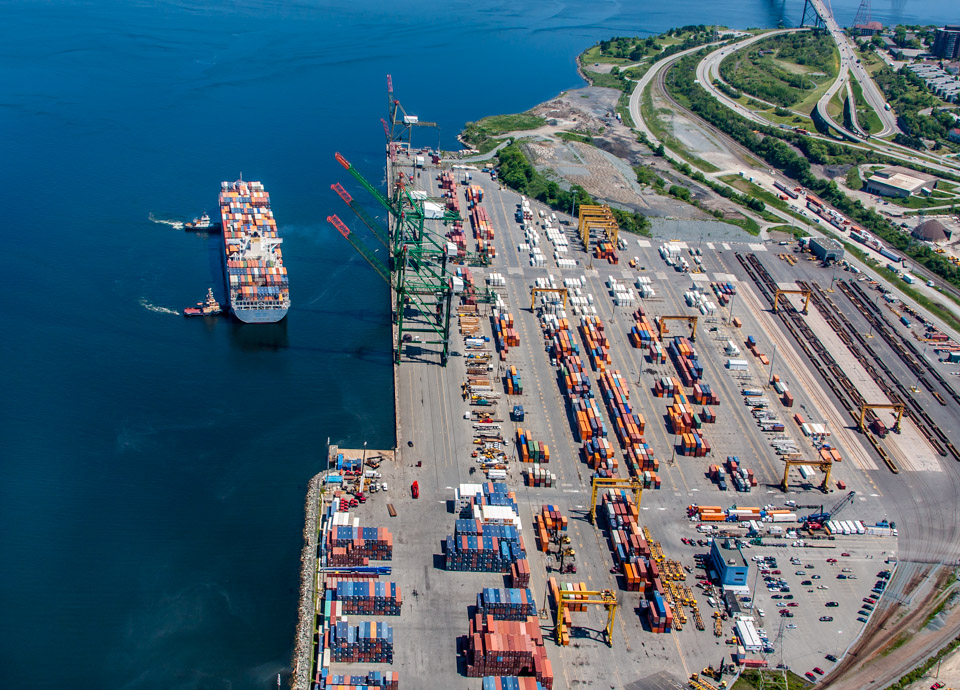 Aerial of Halifax Container Port
