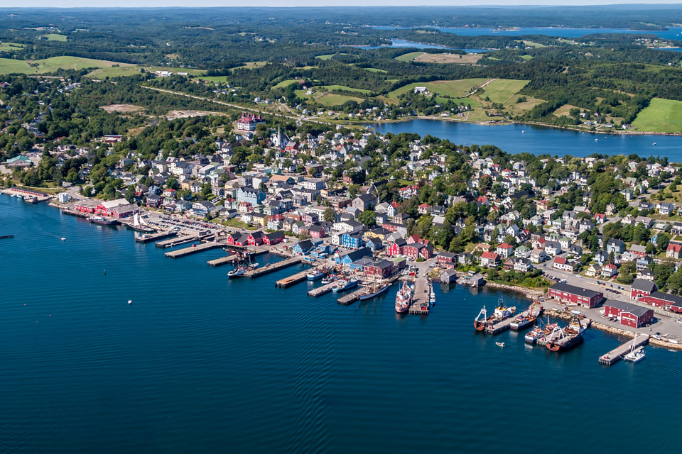 Aerial of Lunenburg Docks
