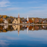 Mahone Bay Churches in Fall