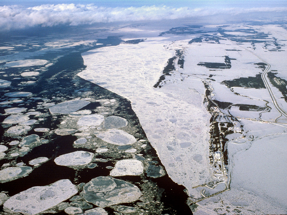 Aerial of St. Lawrence River in Winter