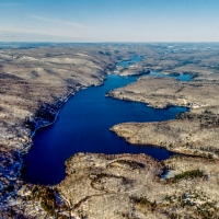 Aerial of Meach Lake in Winter